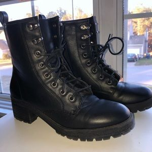 Madden Girl Black Combat Boots, Womens Size 7